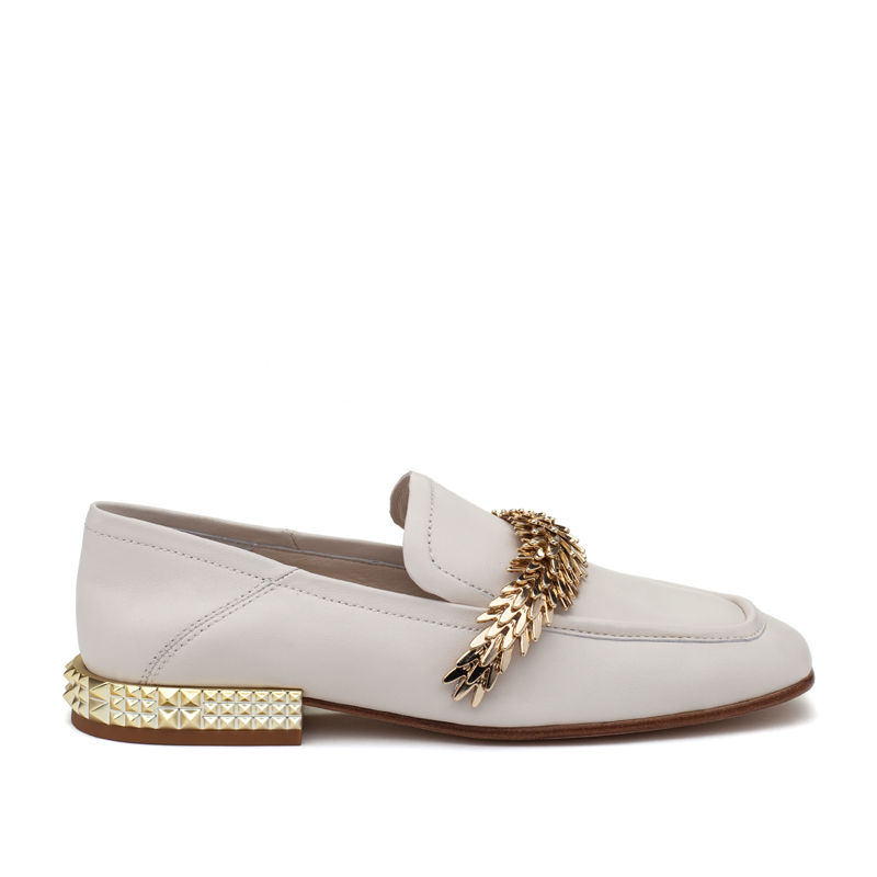 ASH Edgy Ivory Leather Loafer