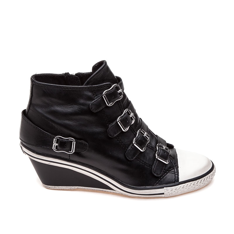 ASH Genial Womens Wedge Sneaker Black Leather 350032 (001)