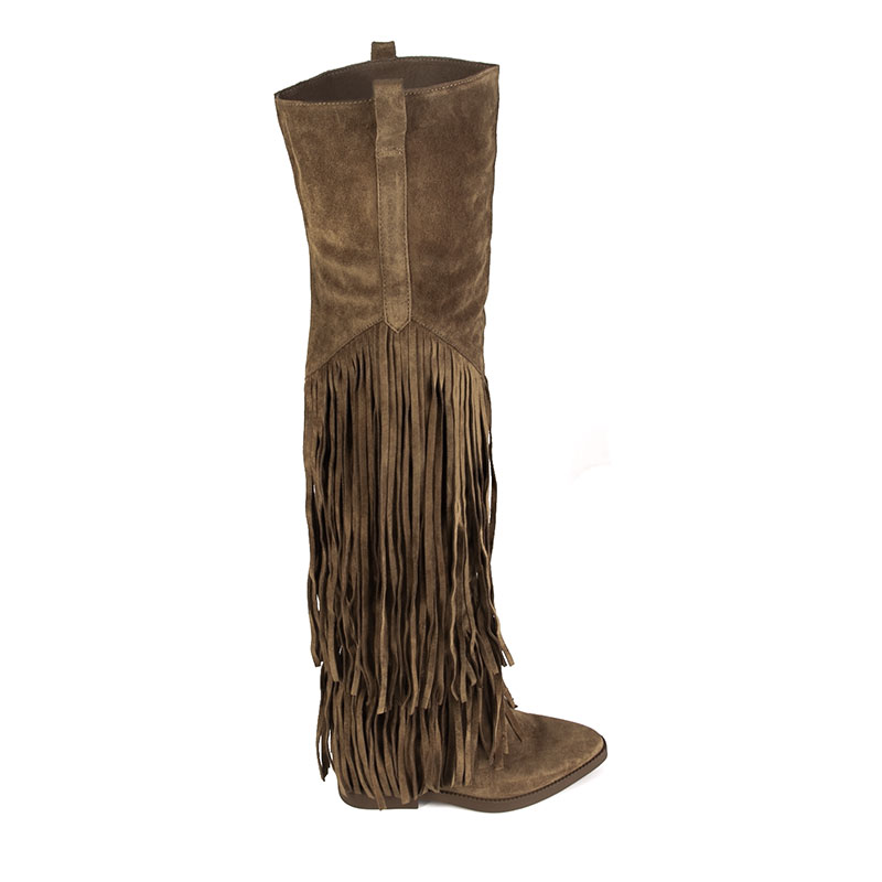 ASH Gipsy Womens Russet Suede Over The Knee Fringe Boot 360292 (229)