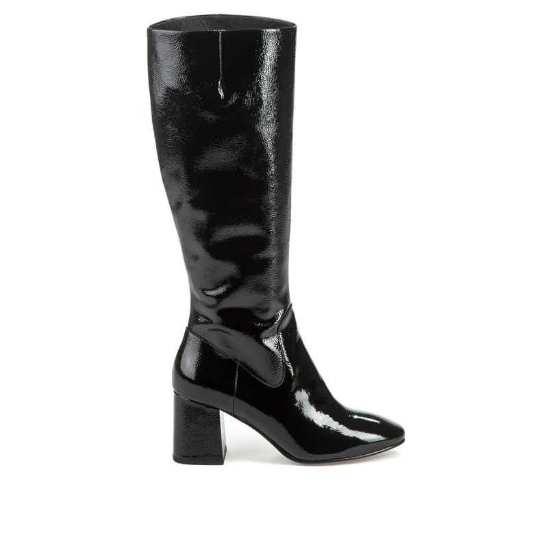 Ash Women's Hley Patent Leather Block Heel Tall Boots EXzeY8xs
