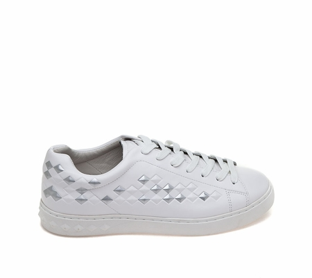 ASH Mens Power Bis White Silver  Leather Sneaker