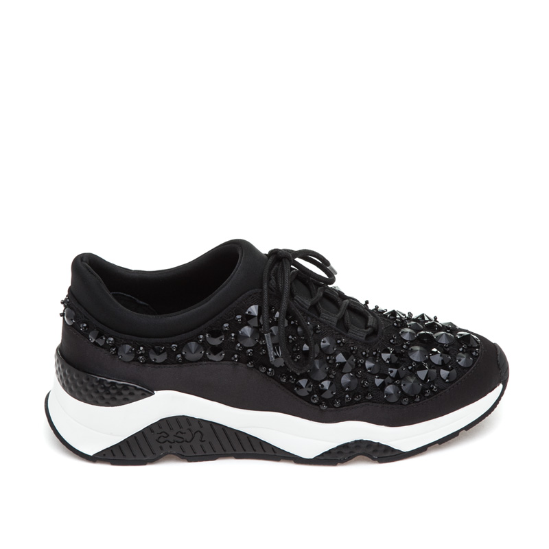 ASH Muse Beads Black Satin Sneaker