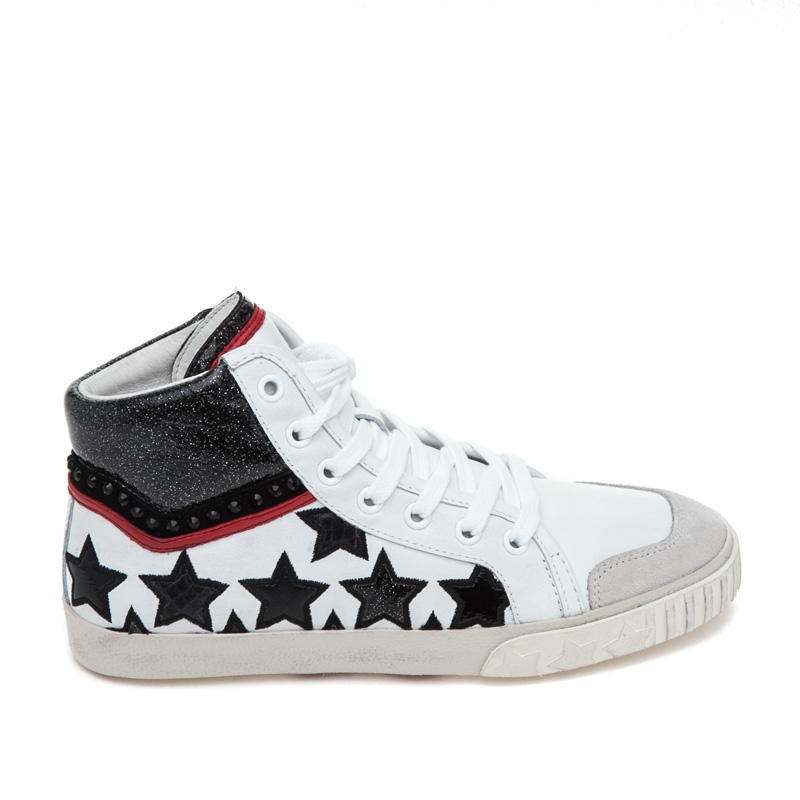 ASH Musik Off White/White/Carmin Red Leather Sneaker