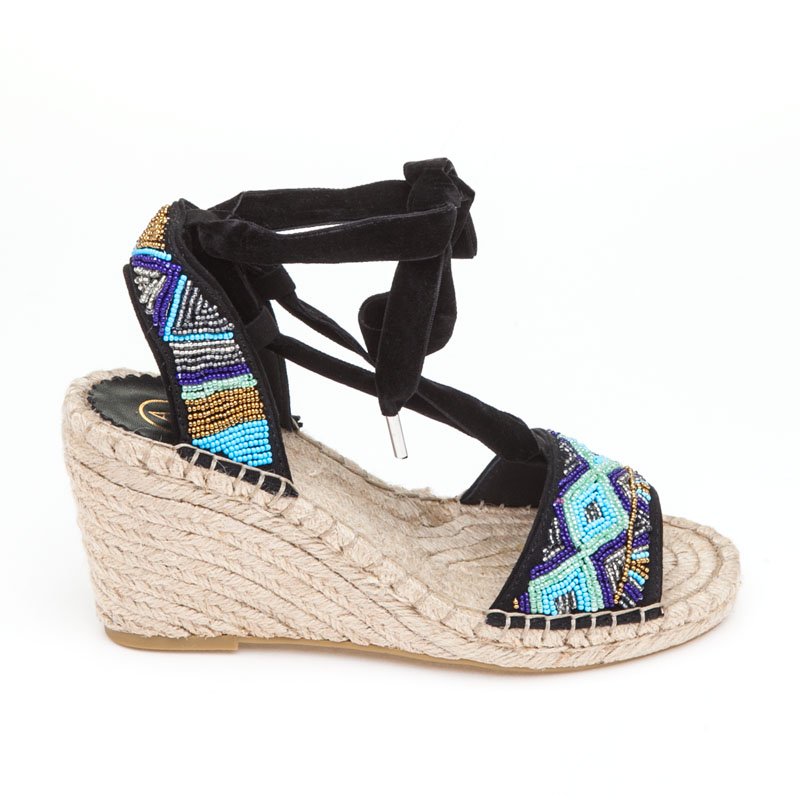 Ash Paola Blue Black Fabric Espadrille
