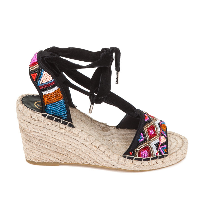 Ash Paola Orange Black Fabric Espadrille