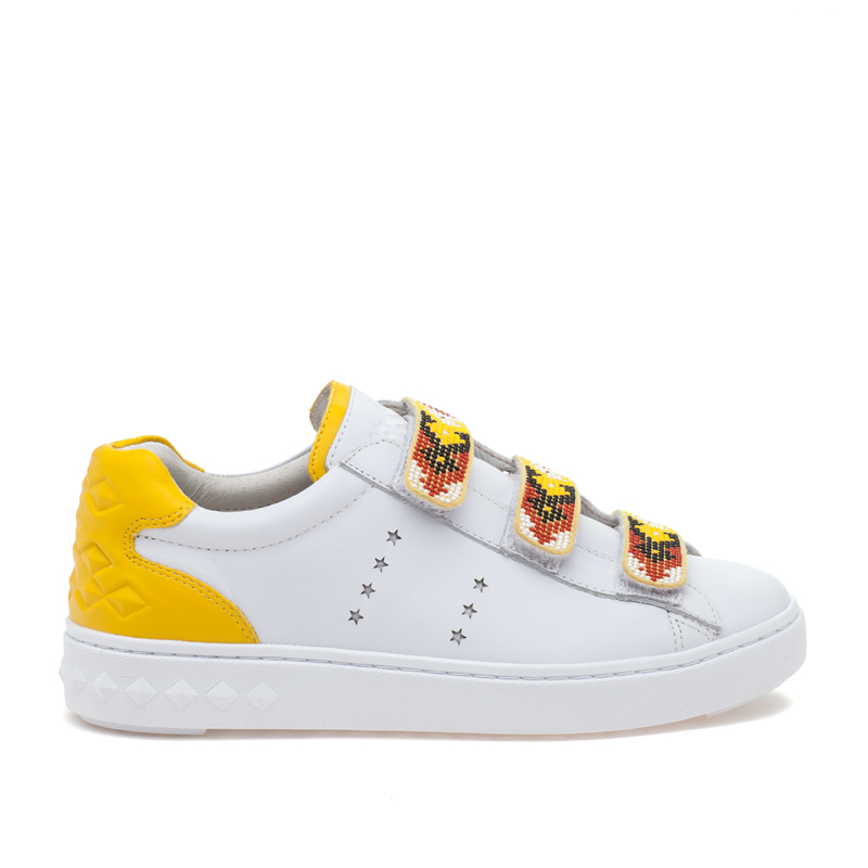ASH Pharell White Yellow Leather Sneaker