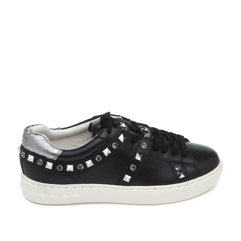 ASH Play Black Chrome Leather Sneaker