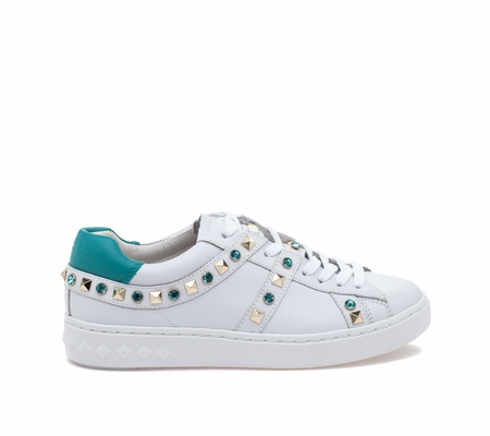 ASH Play White Turquoise Leather Sneaker