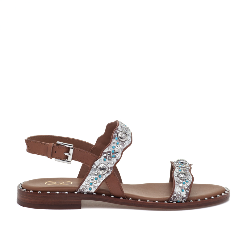 ASH Precious Cuoio/Nat/Silver Leather Sandal