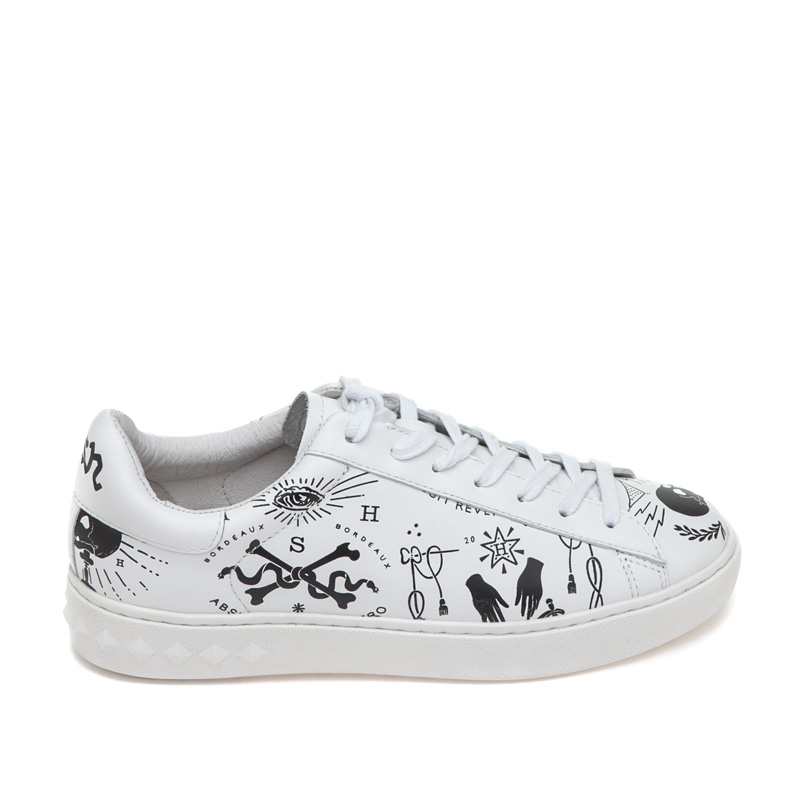 ASH Psychose White Black Print Leather Sneaker