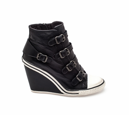 ASH Thelma Ter Womens Wedge Sneaker Black Leather 330359 (001)