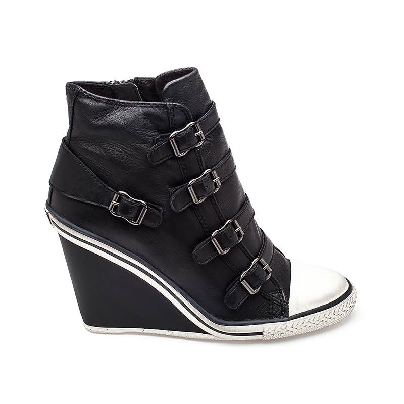 ASH Thelma Womens Wedge Sneaker Black Leather 340551 (001)