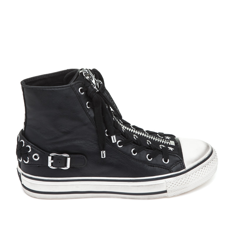 ASH Venus Black/Off White Leather Sneaker