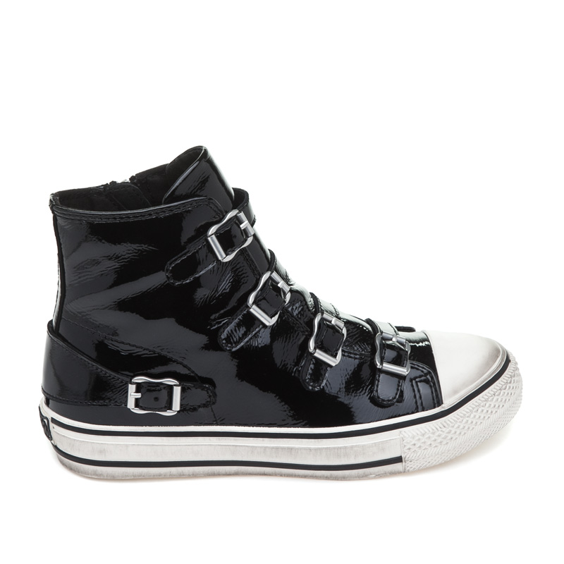 ASH Virgin Black/Off White Patent Leather Sneaker