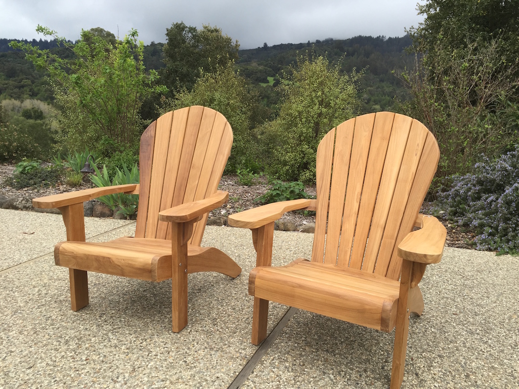 Teak Adirondack Chair & Curved seat low flat arms Teak Adirondack chair