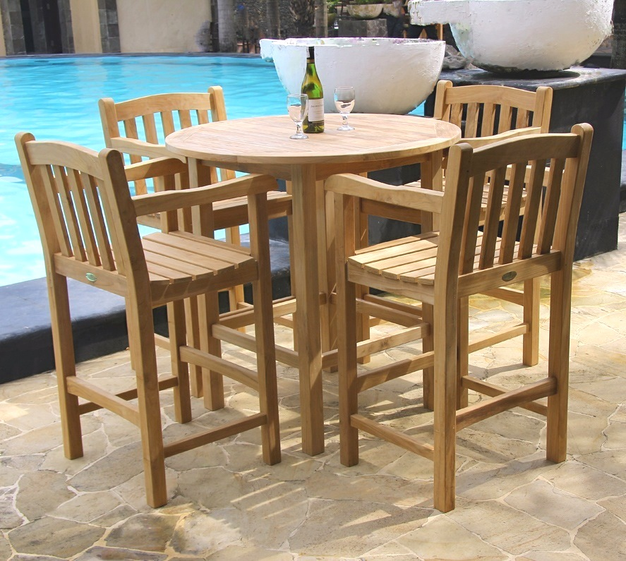 Classic Patio Bar Table Set - Teak pub table and chairs