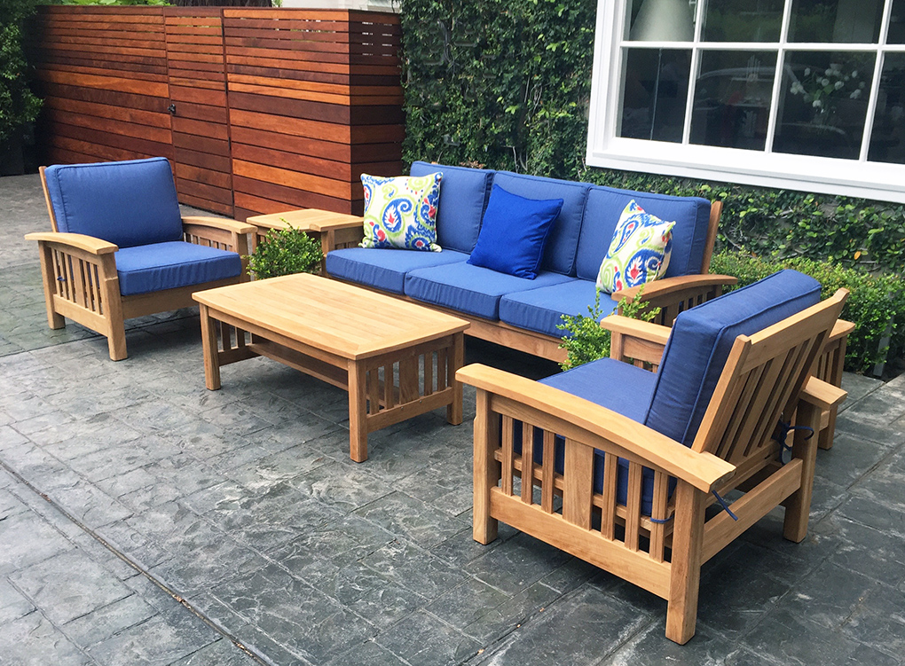 Mission Style Teak Sofa Set Zoom
