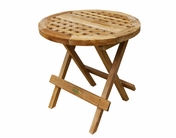 Round Checkerboard Teak Table