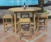 Teak Oval Bar Stool Set