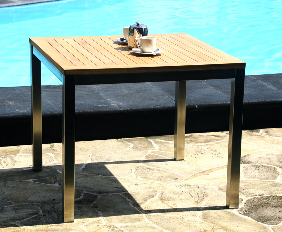 Teak Stainless Steel Square Table - Stain steel table