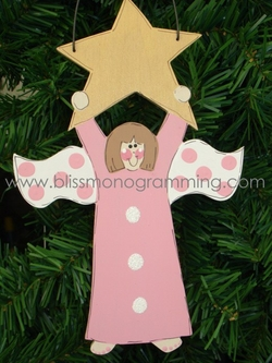 Angel Hanging on Gold Star<br>Christmas Ornament
