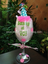 "Birthday Wine Glass<br>""Sassy at 70!"""