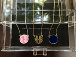 Enamel Monogram Disc Necklace