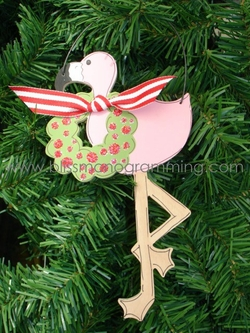 Flamingo with Wreath<br>Christmas Ornament<br>SOLD OUT