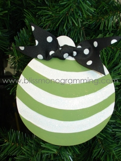 Green Stripe Ball<br>Christmas Ornament