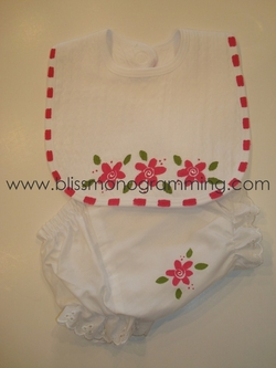 Hand-Painted Bib & Bloomers Baby Set