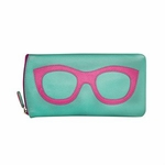 Leather Eyeglass Case<br>Turquoise with Hot Pink
