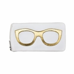 Leather Eyeglass Case<br>White with Gold