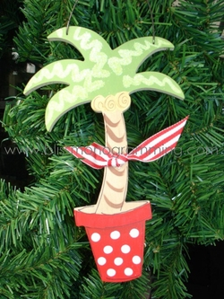 Palm Tree in Pot<br>Christmas Ornament