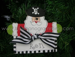 Pirate Santa with Sign<br>Christmas Ornament