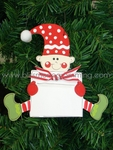 Sitting Elf with Sign<br>Christmas Ornament