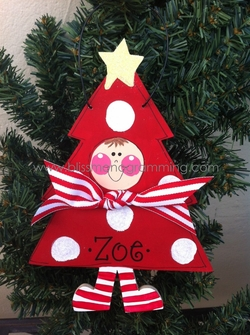 Tree with Kid (RED)<br>Christmas Ornament