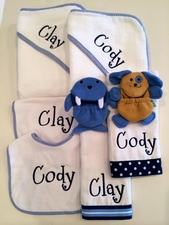 Twins Towel, Bib & Burpcloth Set