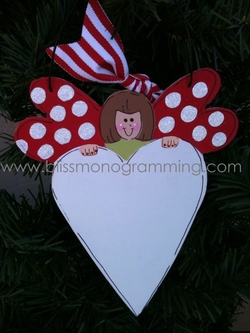 Winged Angel with Heart RED<br>Christmas Ornament