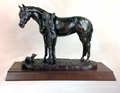 "Antique Bronze ""Best Friends"" Trophy Statue"