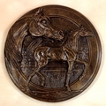 "Antique Bronze ""Classic Arabian Mare and Foal"" Wall Trophy Plaque"