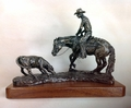 "Antique Bronze ""Cutting Horse"" Trophy Statue"