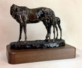 "Antique Bronze ""Peek-A-Boo"" Mare and Foal Trophy Statue"