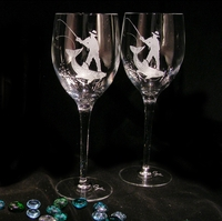 Evergreen Crystal Etched Pair Of 13 oz. Wine Glasses