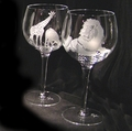 Evergreen Crystal Etched Pair Of 18 oz Wine Glasses