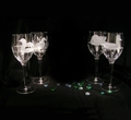 Evergreen Crystal Set of 4 Etched 13 oz. Wine Glasses