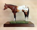 "Full Body Large Size ""Appaloosa"" Statue On Walnut"