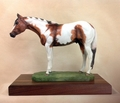 "Full Body Large Size ""Tobiano Paint Horse"" Statue On Walnut"