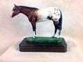"Full Body Medium Size ""Appaloosa"" Statue On Walnut"