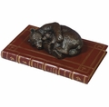 Momma Bear & Cub On Book Statue