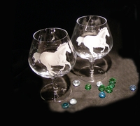"""Personalized Pair Of Crystal """"Brandy Snifters"""""""